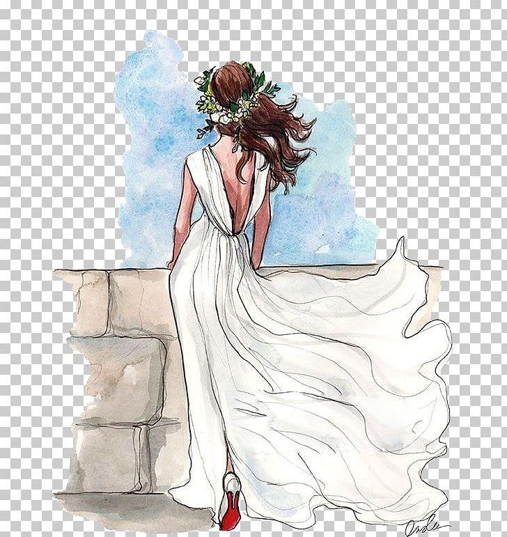 Drawing Wedding Dress Bride Sketch PNG, Clipart, Art, Back.