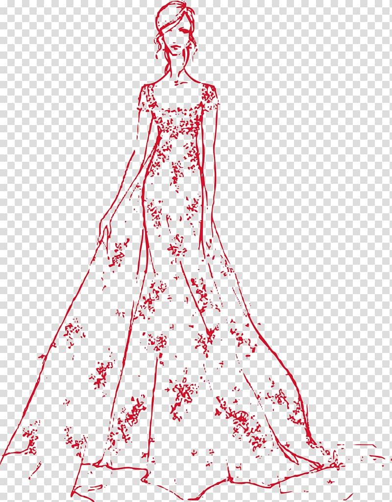 Drawing Fashion Wedding dress Bride Sketch, bride wedding.