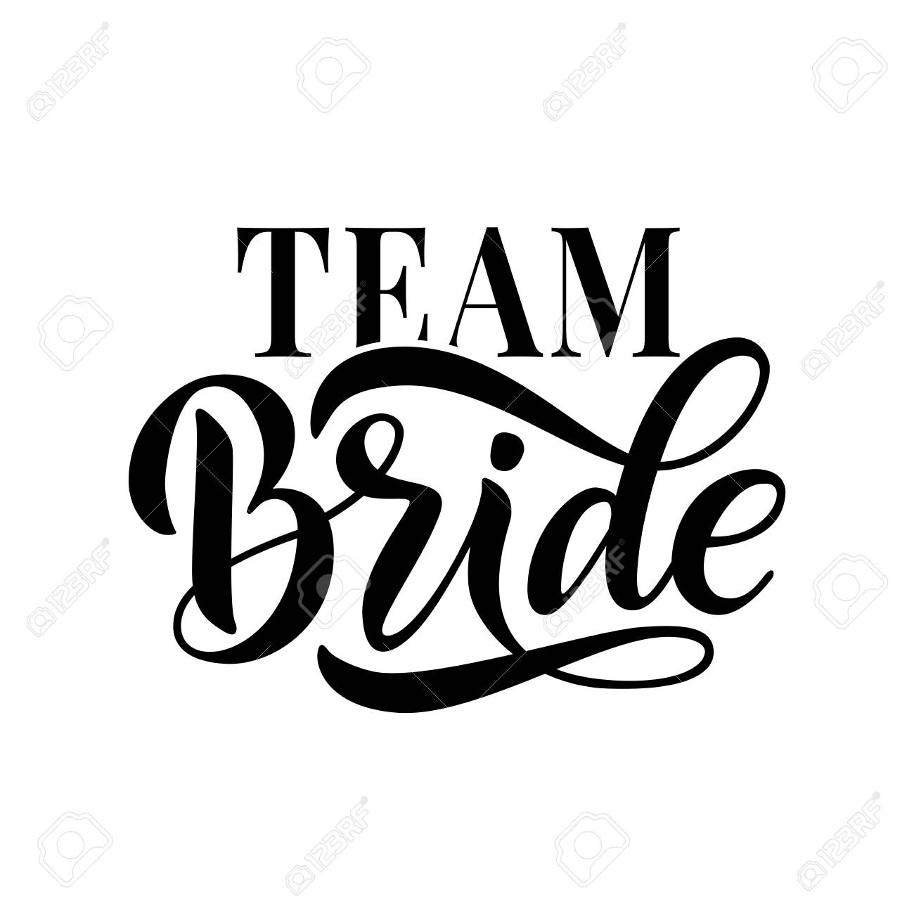Bride team word calligraphy fun design to print on tee, shirt,...