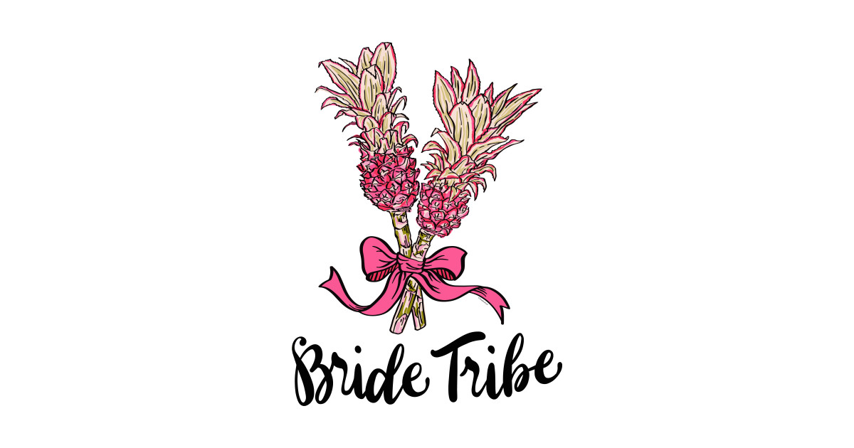 Bride Tribe Shirt Pink Pineapple Bouquet Illustration.