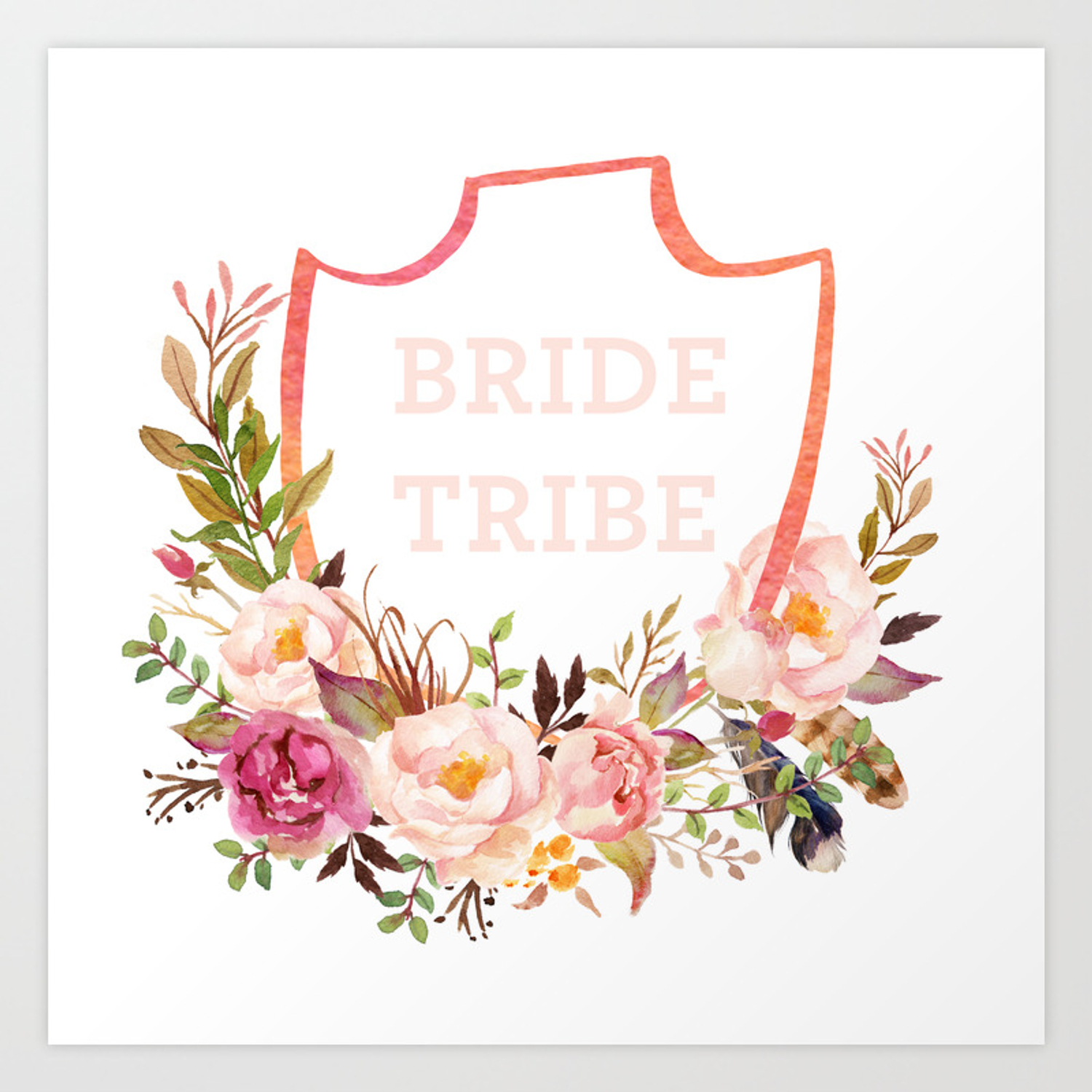 wedding tote bag: bride tribe watercolor florals Art Print.