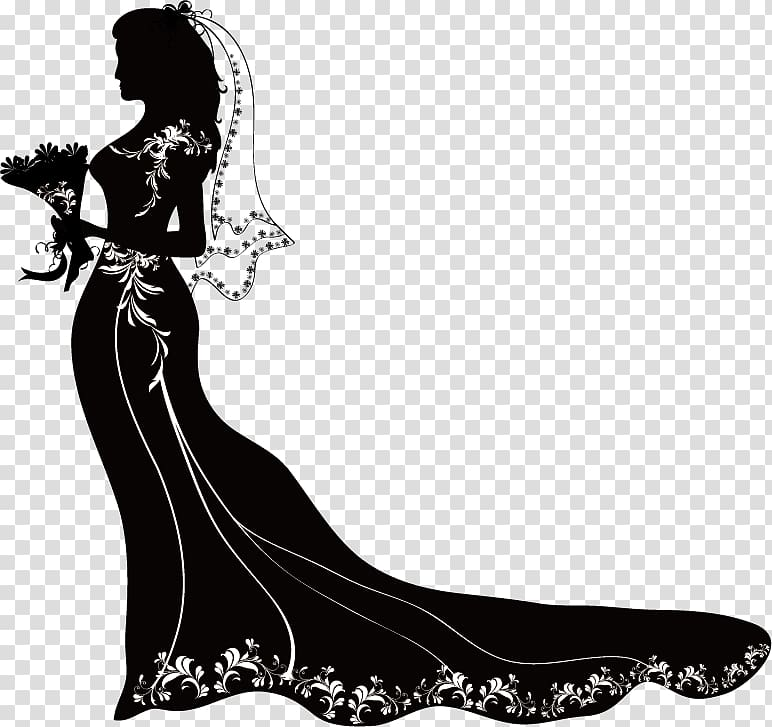 Silhouette. of black and white gown, Silhouette Engagement.