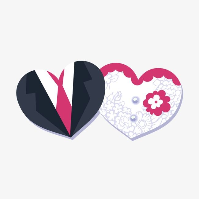 Heart Shaped Bride And Groom Vector Decorative Background.