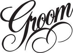 bride groom words vector clipart.