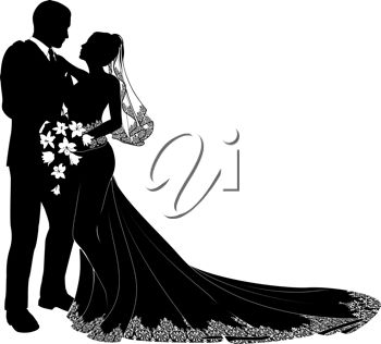 Clip Art Silhouette of a Bride and Groom Embracing Each Other and.