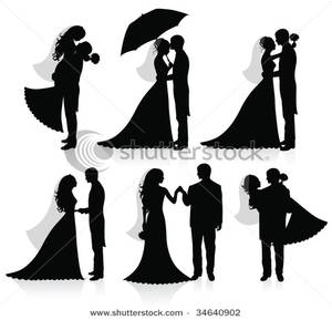 Image: Silhouettes of a Groom and a Bride.