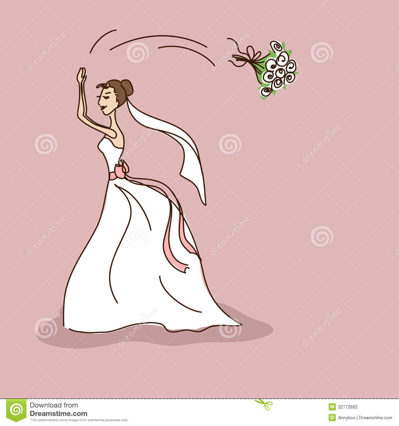 Bridal Shower Or Wedding Invitation With Bride Throwing A Brides.