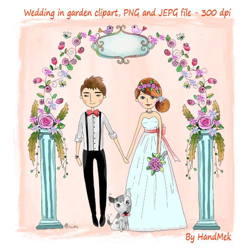 Sweet wedding brides clipart set instant download PNG.