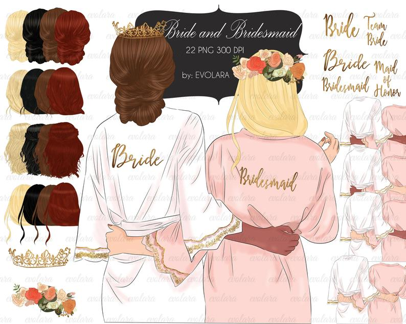Bridesmaid Clipart Bride Robe Clipart Best Friends Clipart Bride Tribe  Customizable Clipart Bachelorette Party Wedding Team Bride Clip Art.