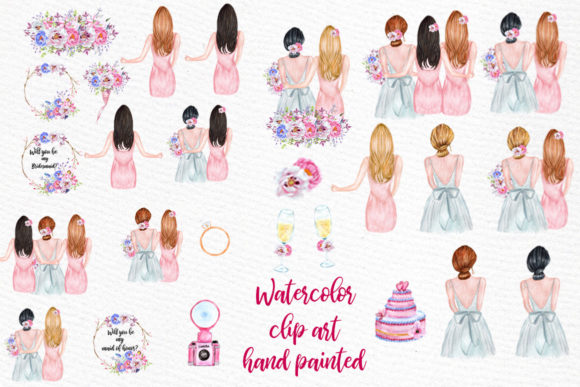 Bridesmaid Best friends clipart.