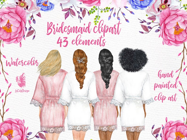 Bridesmaid clipart: