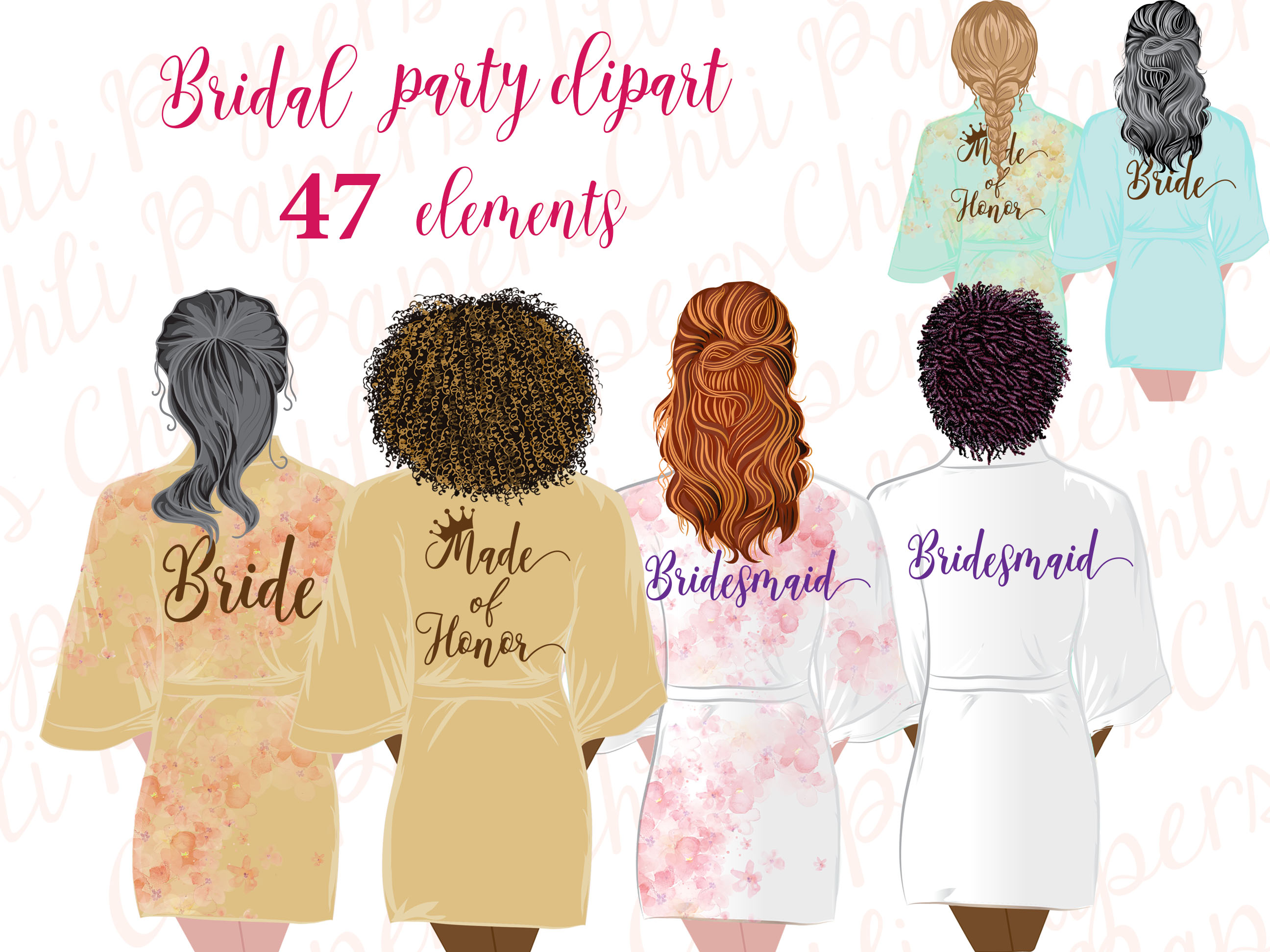Bridesmaid Robe Clipart,Bride Clipart.