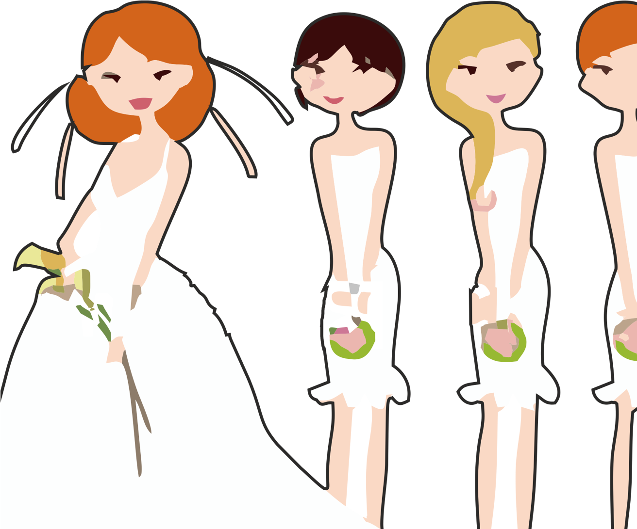 HD Vector Freeuse Stock Bride And Bridesmaid Clipart.