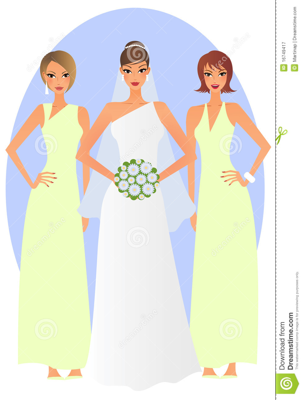 Bride and bridesmaids stock illustration. Illustration of attractive.