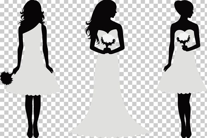 Decorative Silhouette Bride And Bridesmaids PNG, Clipart, Black And.