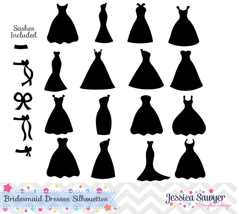 INSTANT DOWNLOAD, bridesmaid dresses silhouettes clipart, silhouette  clipart, for greeting cards, announcements, scrapbooking.