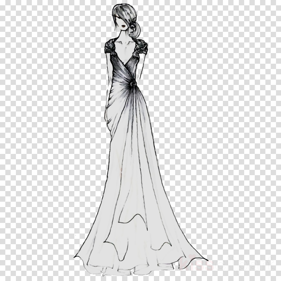 Wedding Dress Clipart Black And White.