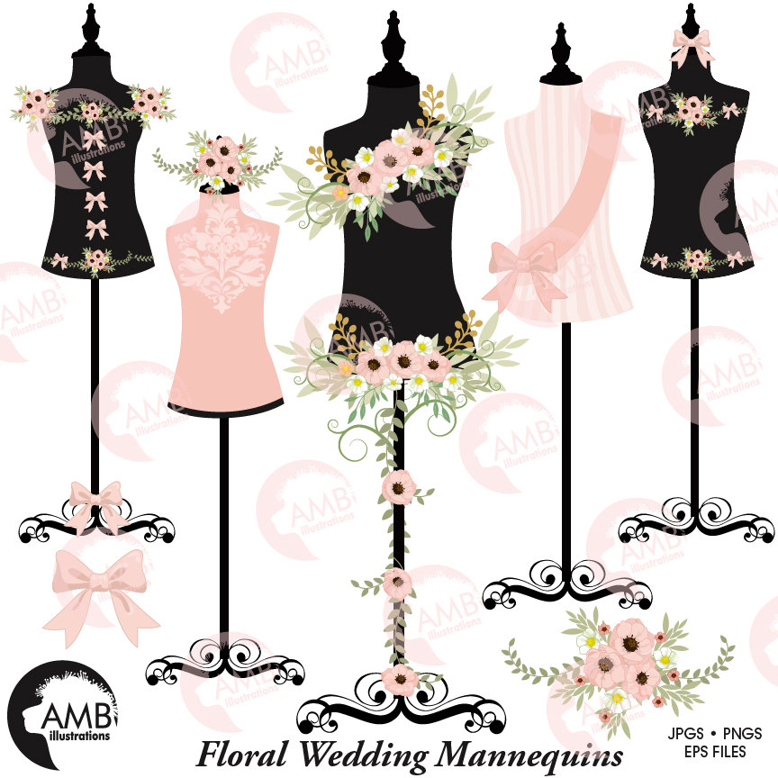 Floral dress, Wedding dress, Floral dress forms, floral mannequin clipart,  lingerie clipart, commercial use, AMB.
