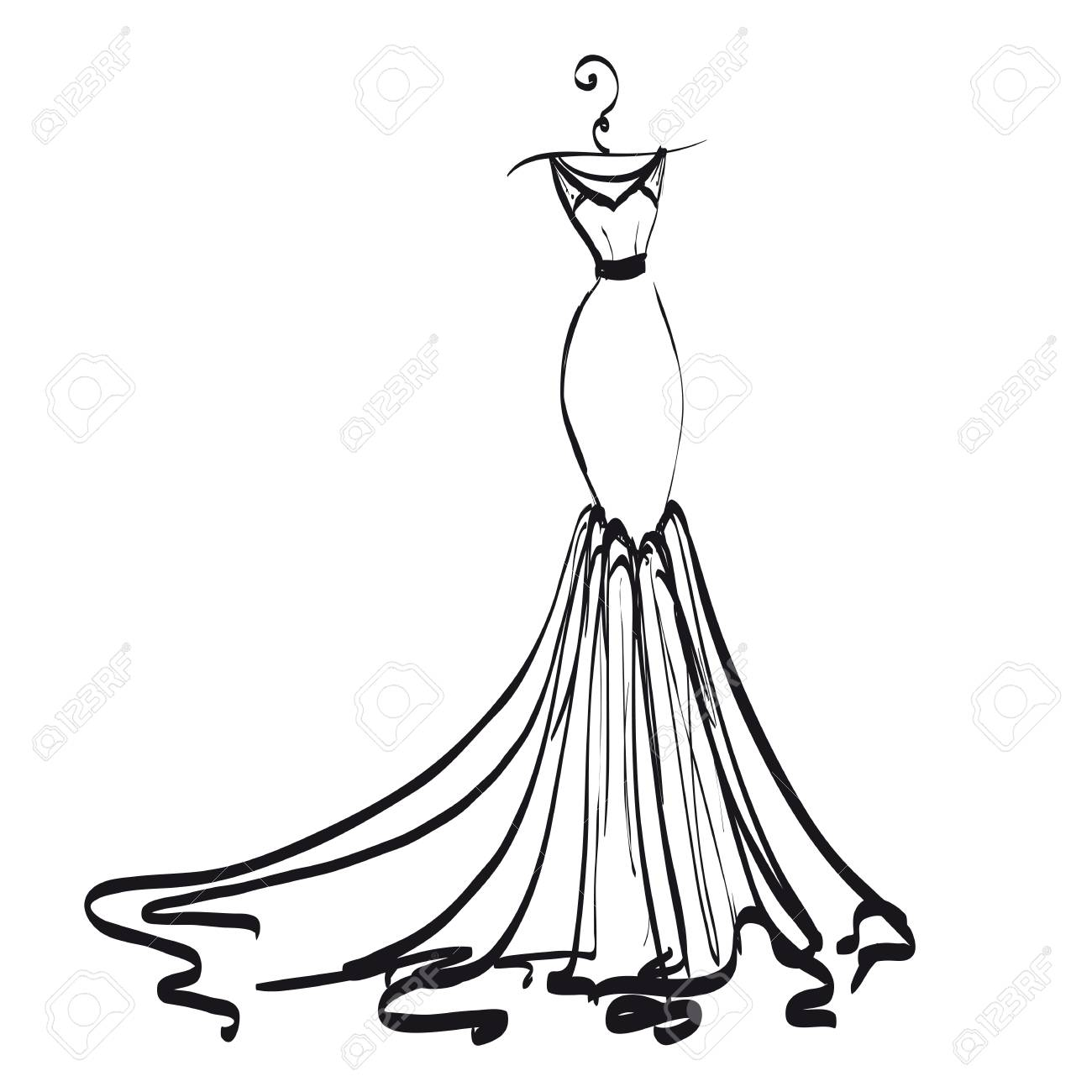 wedding dress design, black and white.