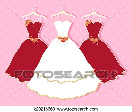 Abstract wedding dress Clipart.