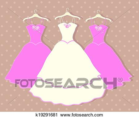 Wedding dress Clipart.