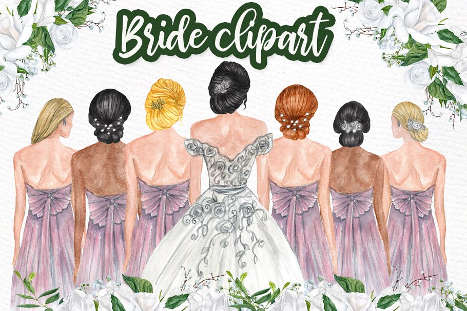 Bride and Bridesmaids clipart ~ Illustrations ~ Creative Market.