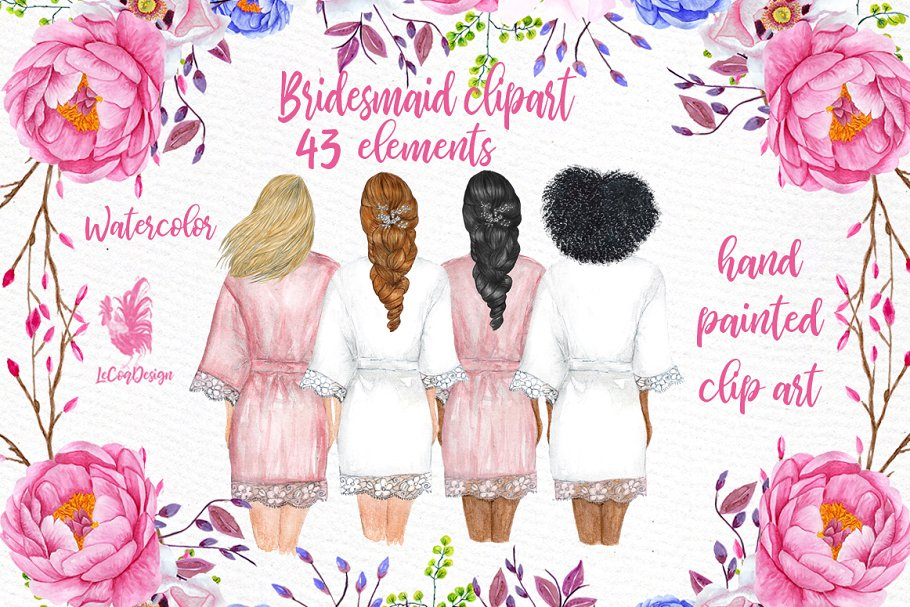 Bridesmaid Wedding Robes clipart ~ Illustrations ~ Creative.