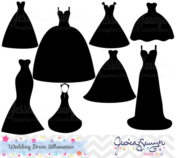 Bridesmaid Dress Outline Clipart.