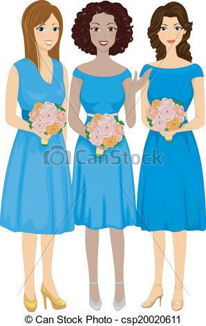 Bridesmaids Illustrations and Clip Art. 487 Bridesmaids royalty.