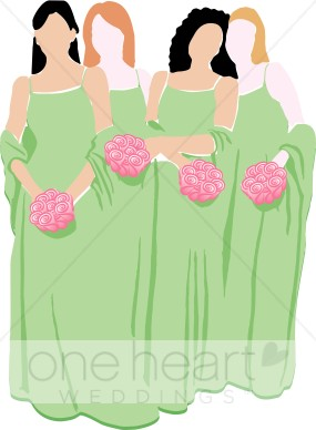 Bridesmaids in Green Dresses with Pink Bouquets Clipart.