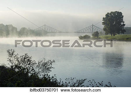 """Stock Photography of """"Morning fog on the Elbe river, Loschwitz."""