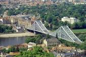 Stock Photography of Blue Wonder Bridge Elbe River Dresden Germany.