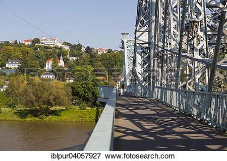 "Picture of ""Blue Wonder bridge or Loschwitz Bridge, Dresdner."