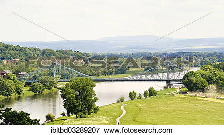 """Picture of """"Loschwitz Bridge or """"""""""""""""Blue Wonder"""""""""""""""", from the."""
