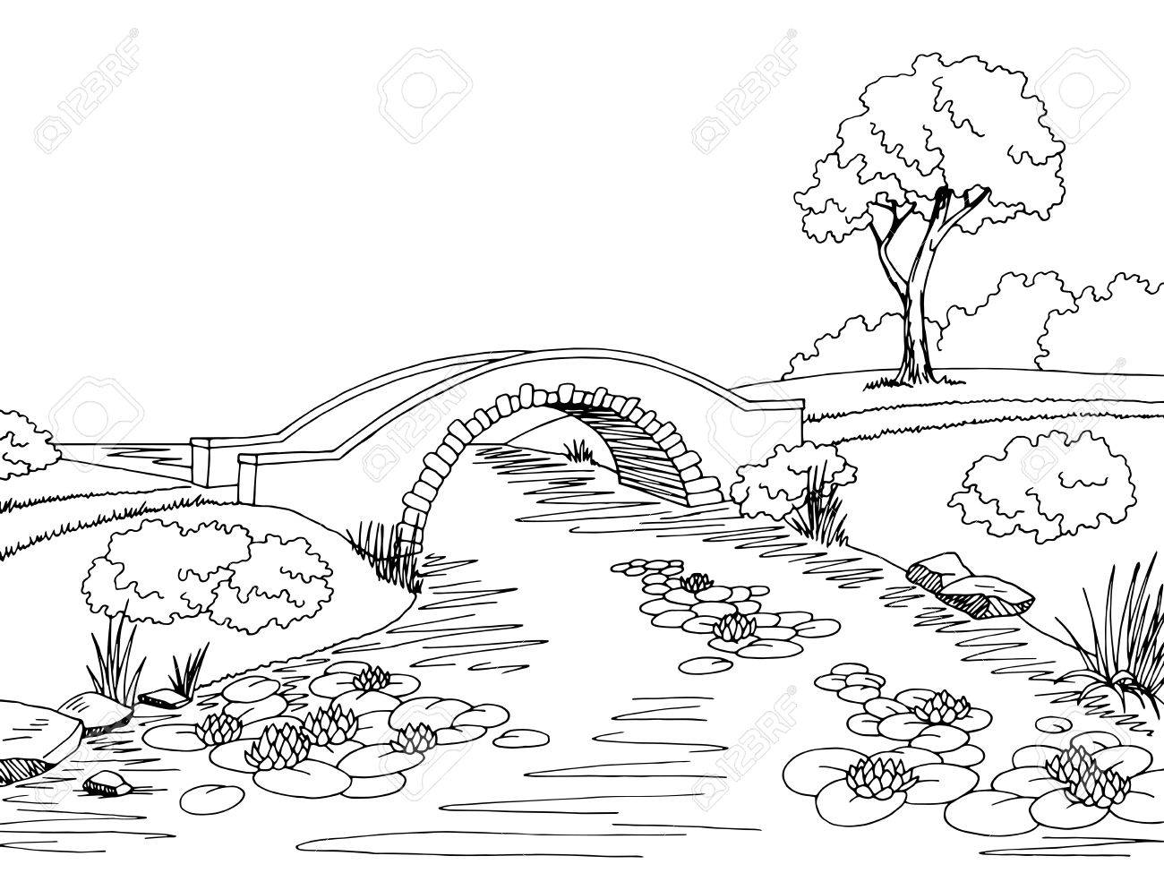 Bridge graphic black white landscape sketch illustration vector.