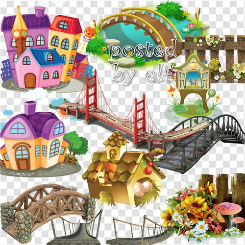 Architecture clipart free png Bridges, buildings, fences.
