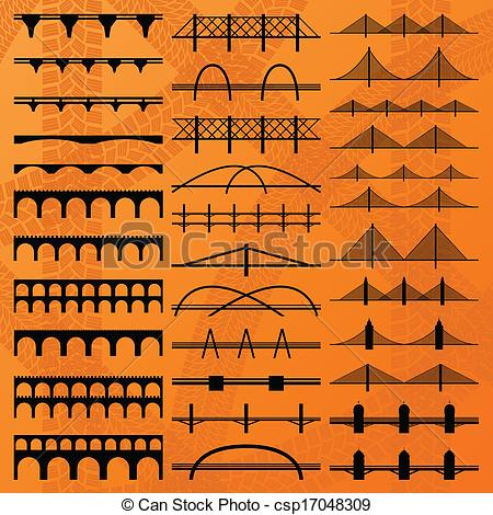 Vector Clipart of Bridge construction silhouettes background.