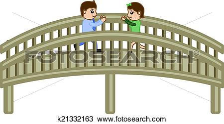 Clipart of Cartoon Lovers Meeting on Bridge k21332163.