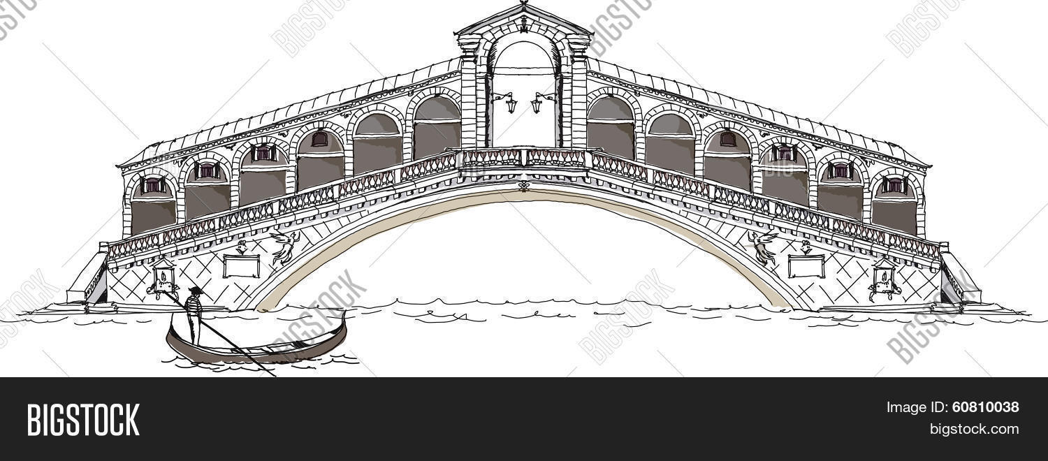 Venice sketch collection, bridge of all lovers Stock Vector.