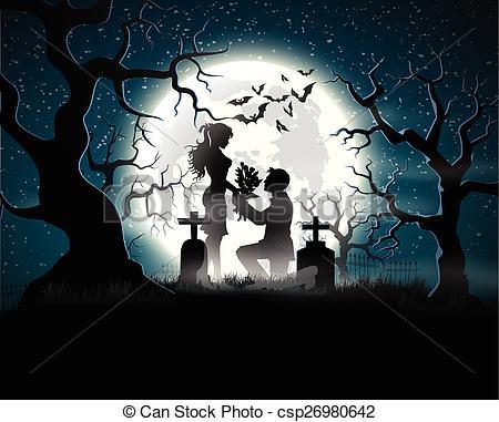 Clipart Vector of Lovers at bridge in moonlight.