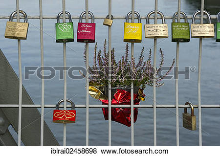 "Pictures of ""Lovers' padlocks on the Eiserner Steg, Iron Bridge."