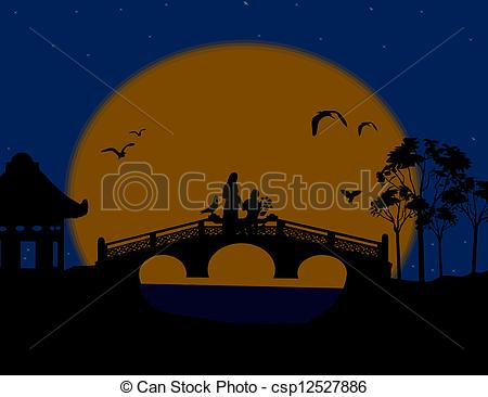 Vector of Asia at night landscape with lovers on the bridge.