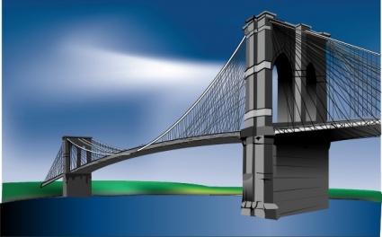 Brooklyn Bridge clip art Free Vector.