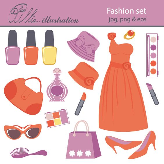 This Fashion set clipart comes with 17 clipart graphics featuring.