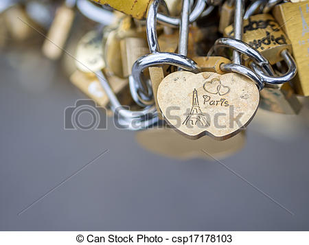 Stock Photography of Love locks in Paris bridge symbol of.