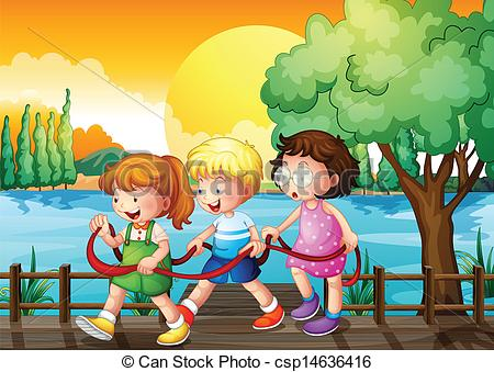Vector Clip Art of Three kids playing inside the ribbon at the.