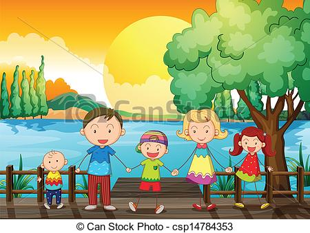 Clipart Vector of A happy family at the wooden bridge.