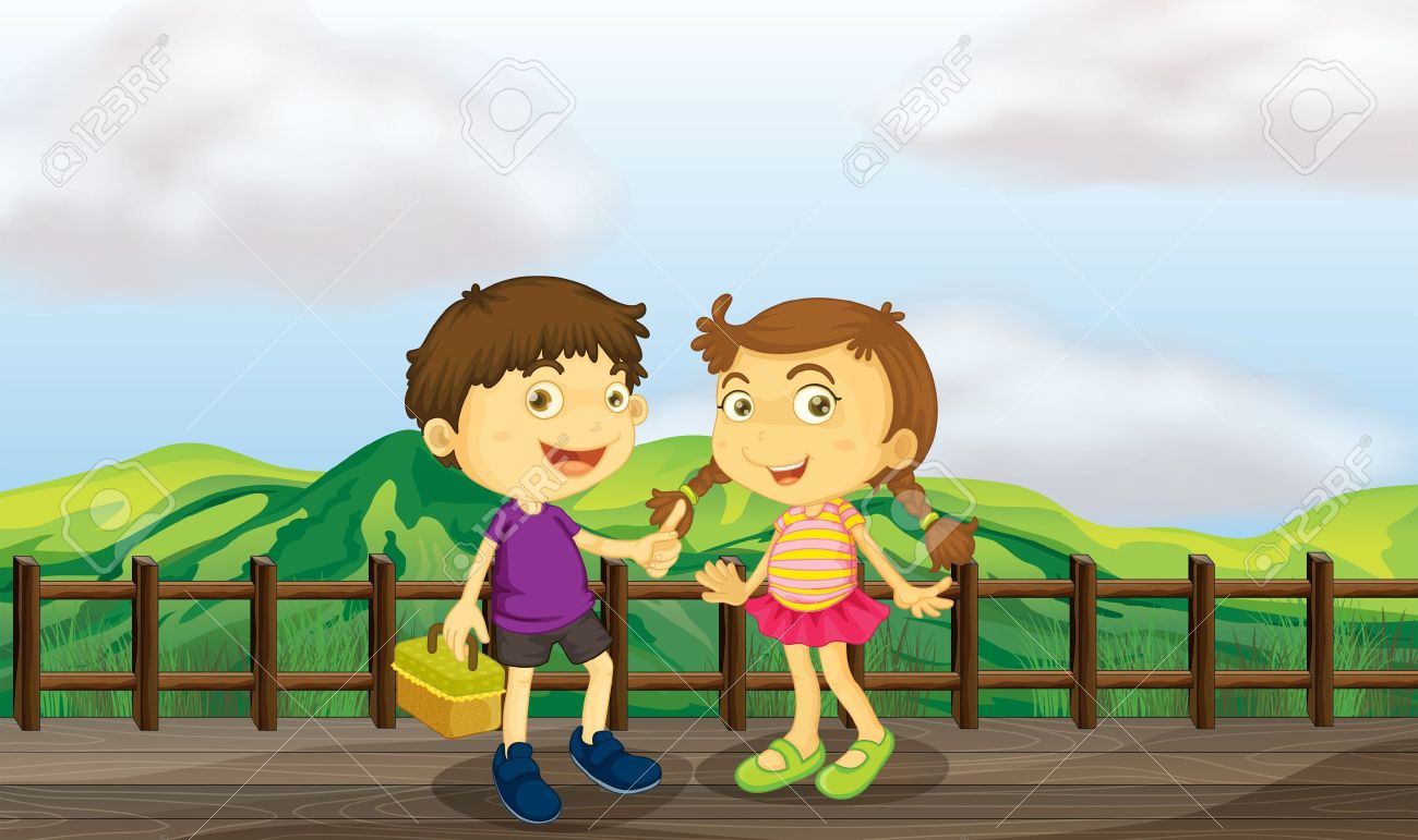 Illustration Of A Young Girl And A Young Boy At The Wooden Bridge.