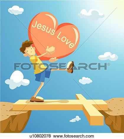 Stock Illustration of bridge, cross, faith, heart, love, jesus.