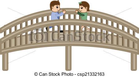 Clip Art Vector of Cartoon Lovers Meeting on Bridge.